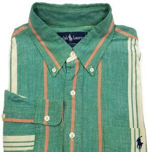 Ralph Lauren Striped Shirt Men's Sz Large Green L